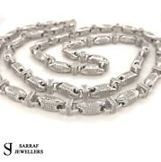 Cz Block Chain 925 Solid Sterling Silver Heavy Silver Necklace 6mm 100gr 30