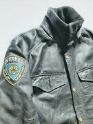 Overkill Nypd Mens Patched Leather Police Jacket Size L