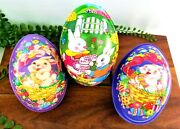 Lot Of 3 Ullman Plastic Lithographed Large Fillable Easter Eggs Vintage Spring