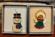 Wallace Silversmiths Christmas Cookie Ornaments Snowman And Angel Pewter 2pc