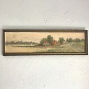Antique Oil Painting On Board Lake Water Farmhouse Lady 17x5andrdquo