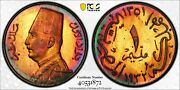 Egypt ,king Fouad, 1 Milliem, 1932h Pcgs Ms66rb Top Pop Only One Graded Colorful