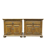Pair Ethan Allen Royal Charter Carved Oak 1 Drawer Nightstand Tables 16-5016