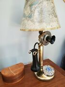 Solid Brass Authentic Northern Telecom Antique 1918 Candlestick Telephone Lamp