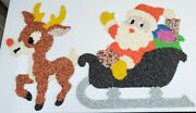Santa In Sleigh And Rudolph Melted Plastic Popcorn Wall Decorations