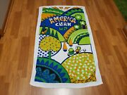 Rare Vintage Mid Century Retro 70s 60s Psychedelic Clean Up Beach Towel Fabric