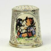 M.j. Hummel Collectable Silver Plated Versilbert Thimble Child With Bird