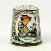 M.j. Hummel Collectable Silver Plated Versilbert Thimble Child
