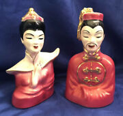 Vintage 1950and039s Chinese Woman And Man Ceramic Bust Figurines Red 22 K Gold Usa