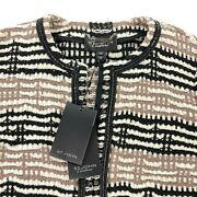 New St John Couture Womenandrsquos Tweed Wool Cardigan Jacket Caviar/dove Andbull Size 10