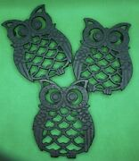 Vintage Set Of 3 Cast Iron Footed Owl Trivets Approx. 3x4 Made In Taiwan