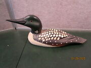 Vintage Wooden Common Loon Hand Carved Painted Duck Decoy 15 Inch