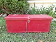 Antique Original Red Farm Implement Wood Tool Box Tractor Farmhouse Country Deco