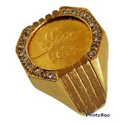 24k Gold Maple Leaf 1/10 Oz Coin With 18 Diamonds 14k Ring Size 8