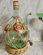 Vintage Mcm Hand Blown Green Italian Glass Wine Chiller Decanter W/ice Chamber