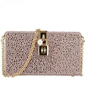 Dolce And Gabbana Satin Crystals Clutch Bag Dolce Box Rainbow Pink 09684