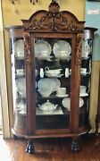 Antique American Victorian Bow Front Curio / Display Cabinet On Paw Feet