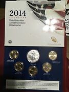 2014 Us Mint Annual Uncirculated Dollar Coin Set American Silver Eagle 6 Coins
