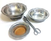 Wilton Armetale Pewter Queen Anne 3x Bowls + Salad Tongs