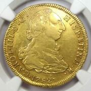 1782 Bolivia Charles Iii 4 Escudos Gold Coin 4e - Certified Ngc Xf Details Ef