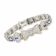 Vintage Diamond And Synthetic Sapphire Filigree Bracelet With White Zircons In