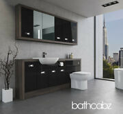 Bathroom Fitted Furniture Black Gloss/mali Wenge A3 2000mm With Wall Units - Bat