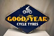 Vintage Good Year Cycle Tire Tyres Sign Board Porcelain Enamel Advertising Rare