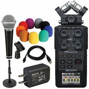 Zoom H6 All Black 6-input/6-track Portable Handy Recorder + Ac Adapter + Mic
