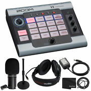 Zoom V3 Vocal Effects Processor + Zoom Dynamic Mic + 9v Ac Adapter + Headphones