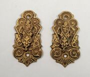 Antique Victorian East Lake Brass Keyhole Escutcheon Covers - Matching Pair 1