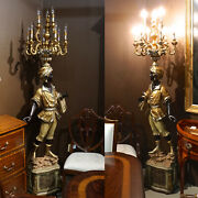 82 Blackamoor Statue Holding Candelabra With 9 Lights In Hand Black And Gold