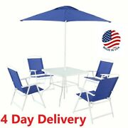 Mainstays Albany Lane 6 Piece Outdoor Table, Chairs And Umbrella Patio Dining Set