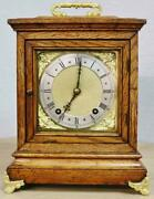 Antique German 8 Day W And H Solid Oak And Bronze Ting Tang Musical Bracket Clock