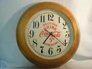 Vintage Style Coca Cola Wall Clock 16 Diameter W/ Wood Frame New Dial And Hands