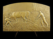 Medal C1930 Rotavators Work Of Field Ox The / Of Coudray Bouilloux-lafont Medal