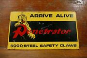 Vintage Penetrator Tires Gas Station Metal Tire Display Stand Advertising Sign