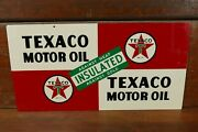 Vintage 1952 Original Texaco Insulated Motor Oil Double Sided Oil Rack Sign