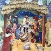 Christmas Advent Calendar Nativity Scene Paper And Glitter With Bible Text