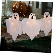Halloween Outdoor Decorations 3 Pack Lighted White Ghost Garden Stakes 20