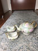 Tv Limoges France Hand Painted 2 Cup Tea Pot Pink Roses Gold W Sugar And Cream
