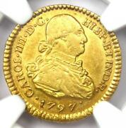 1797 Colombia Charles Iv Escudo Gold Coin 1e - Certified Ngc Au55 - Rare