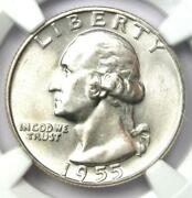 1955-d Washington Quarter 25c Coin. Ngc Ms67 - Rare In Ms67 - 18000 Ngc Value
