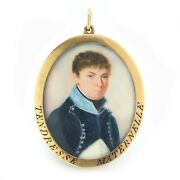 Antique French 19th Century 18kt Gold Pendant Miniature With Painting
