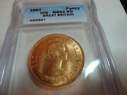 1963 Great Britain One Penny Icg Ms62rd