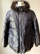 Brunello Cucinelli Metallic Andwhite Down Jacket/coat Padded Revers Fox Removable