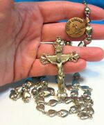 Creed Sterling Silver Rosary Hearts 87.8 Grams With Metal Tag