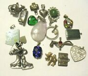 Vintage Jewelry Lot Of 17 Pces Charms Pendants Sterling And Silver Toned