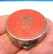 Vintage Charles Of The Ritz Mini Mirrored Compact Solid Perfume Silver Enamel
