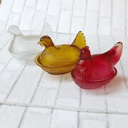 Lot Of 3 Vintage Glass Hen Candy Dishes Red Yellow Clear Country Retro Southern