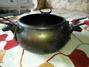 Gorgeous Antique / Vintage Hand Forged Hammered Copper Pot W/ 3 Crafted Bulls